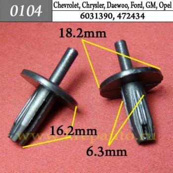 6031390, 472434 - Автокрепеж для Chevrolet, Chrysler, Daewoo, Ford, GM, Opel